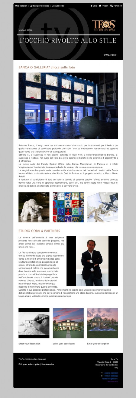 Teos Tv Newsletter - Studio Corà & Partners
